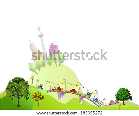 City collection, City and roads - stock vector