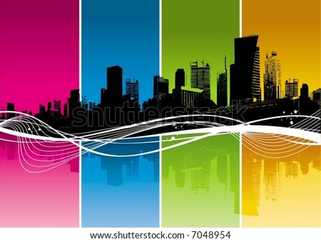 City, color strips & waves - stock vector