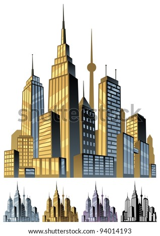 City: Comic book city in 5 color versions. No transparency used. Basic (linear) gradients. - stock vector