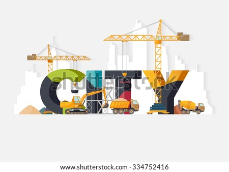 City  construction. Typographic illustrations.  - stock vector
