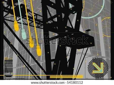 City Crane Design with USB Plugs. - stock vector