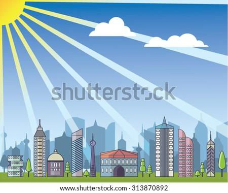 City daylight - stock vector