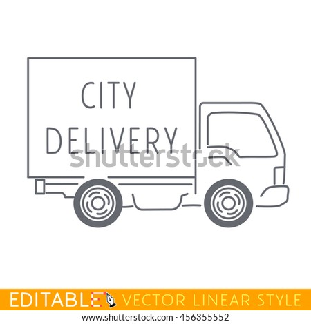 City delivery truck, lorry. Editable vector icon in linear style. - stock vector