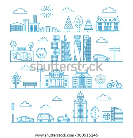 City design elements. Linear style. Vector illustration.
