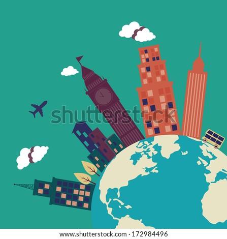city design over blue background vector illustration - stock vector