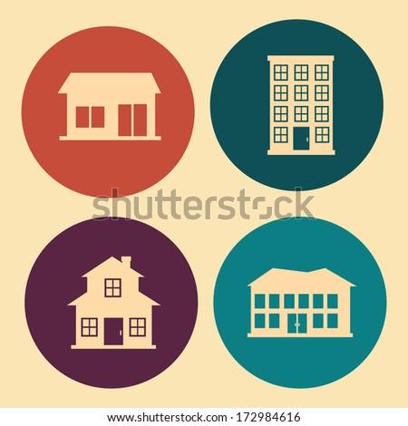 city design over pink background vector illustration  - stock vector