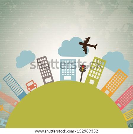 city design over vintage background vector illustration  - stock vector