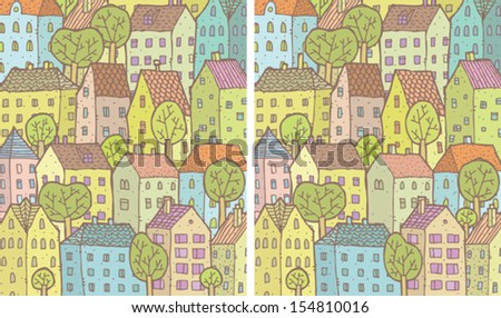 City Differences Visual Game. Task: find 10 differences! Solution in hidden layer (vector file only). Illustration is in eps8 vector mode! - stock vector