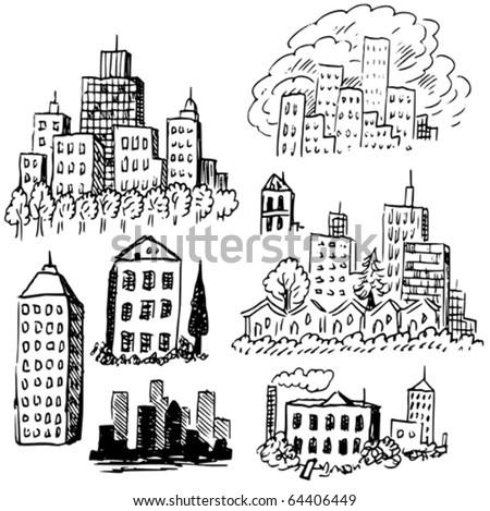 City Doodles - stock vector