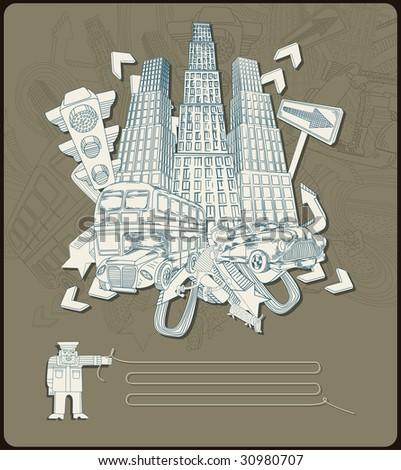 city elements - composition- vector - stock vector
