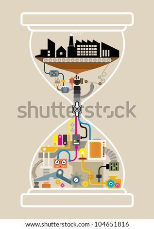 City factory in hourglass, illustrator vector - stock vector