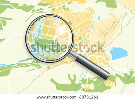 City Geo Map and Zoom Lens. Color bright decorative background vector illustration EPS-10. - stock vector