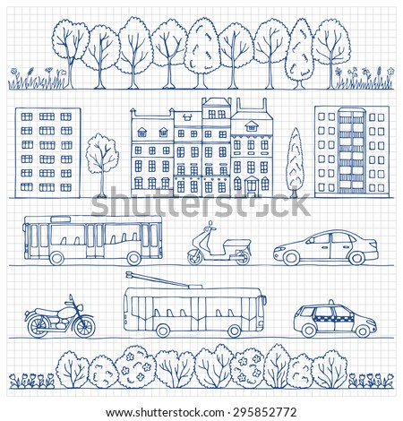 City hand drawn doodle borders on squared background. Vector  illustration for backgrounds, web design, design elements, textile prints, covers - stock vector