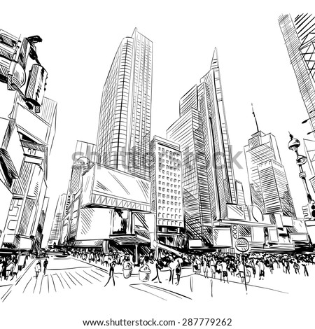 City hand drawn, vector illustration - stock vector
