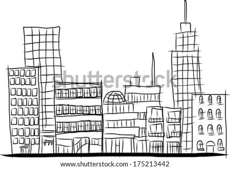 city hand sketch - stock vector