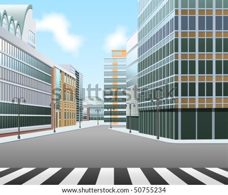 City high street - stock vector