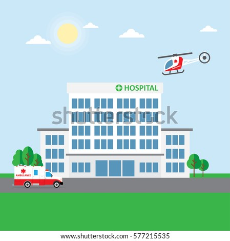 City hospital building clinic ambulance car stock vector 577215535 city hospital building or clinic ambulance car and helicopter vector illustration malvernweather Images