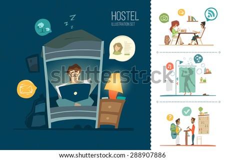 City hostel hotel flat color illustration set - stock vector