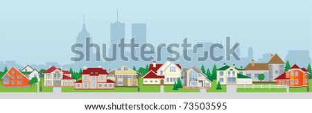 City houses. Vector illustration - stock vector