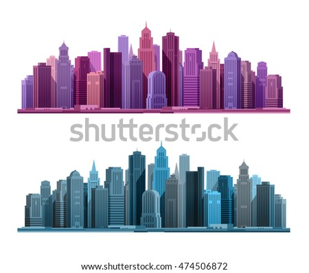 City icon. Business and tourism concept with skyscrapers. Vector illustration