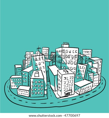 city illustration 2 - stock vector