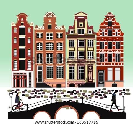 City illustration. Amsterdam. Amsterdam city, bridge, bicycles. Vector. - stock vector