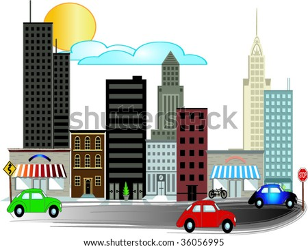City Illustrations with busy road vector - stock vector