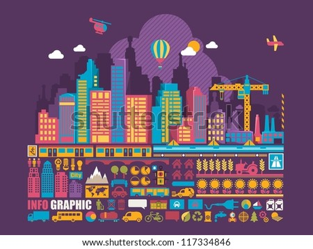 city info graphic background,vector elements - stock vector