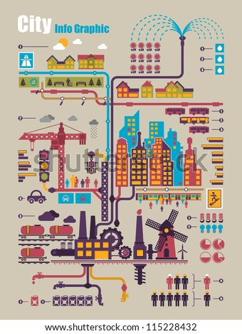 city info graphic, industry and ecology vector elements - stock vector