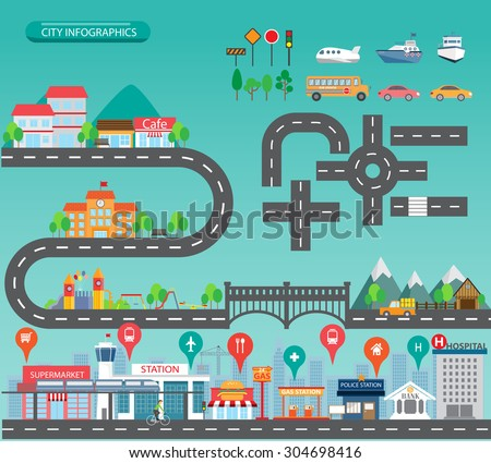 city infographics background and elements, there are village, building, road, park, transportation, Can be used for web design, info chart, brochure template. vector illustration - stock vector
