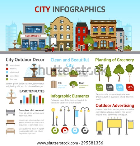 City infographics set with buildings and outdoor decor elements vector illustration - stock vector