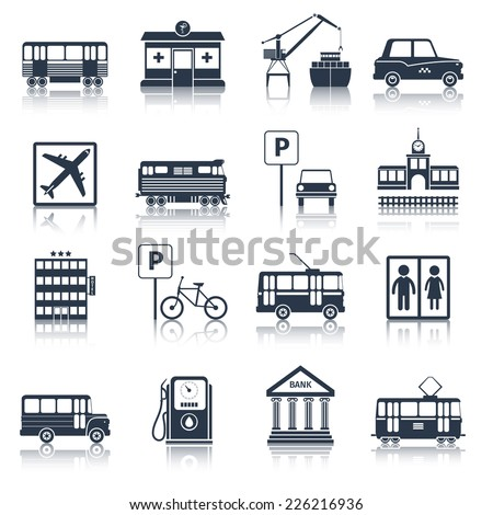 City infrastructure icons black set with tram pharmacy port taxi isolated vector illustration - stock vector