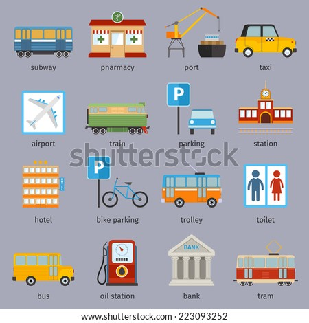 City infrastructure icons set with subway pharmacy port taxi isolated vector illustration - stock vector