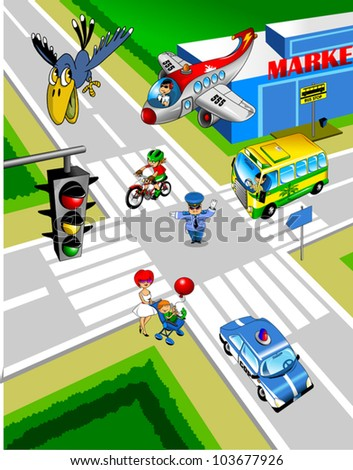 City intersection. A policeman controls traffic; - stock vector