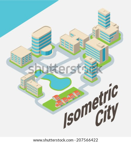 City. Isometric buildings. Vector. - stock vector