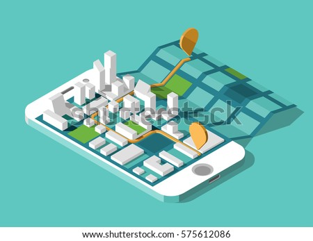 City isometric plan with road and buildings on screen smartphone. Map on mobile application. Vector illustration.