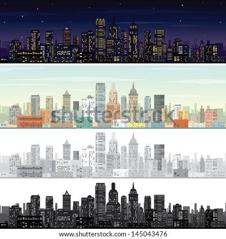 City Landscape at Day and Night Time. Vector Set
