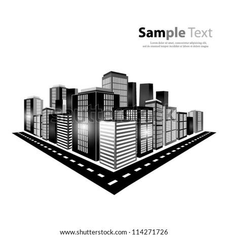 City landscape background. Vector illustration - stock vector