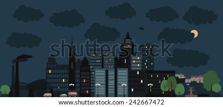 city landscape, big night city - stock vector