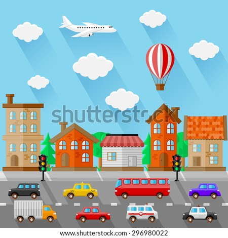 City landscape. Flat design. Vector illustration.  - stock vector