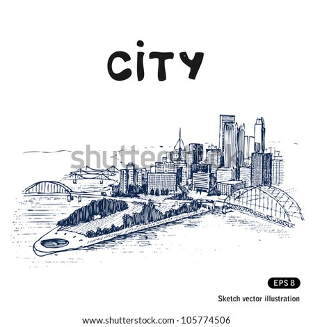City landscape. Hand drawn sketch illustration isolated on white background - stock vector