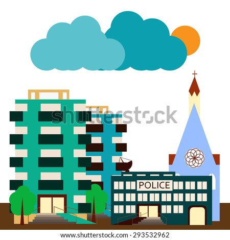 City landscape in flat style with apartment buildings, police station and church.