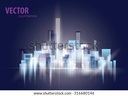 City Landscape night, abstract background town - stock vector