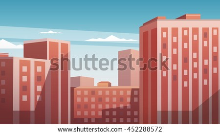 City Landscape, Urban Panorama, Vector Illustration - stock vector