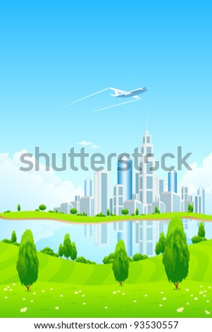 City Landscape with Green Hills Airplane Lake Trees Flowers and Clouds - stock vector