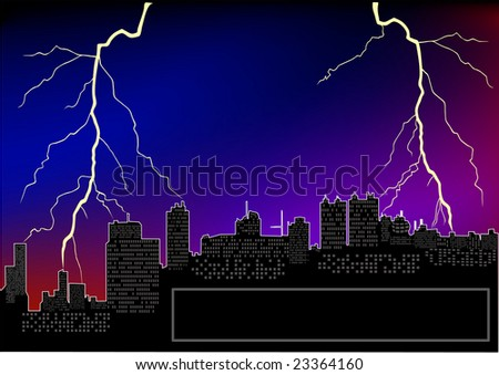 City landscape with lightnings