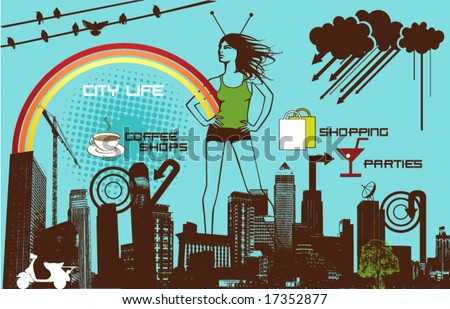 city life - stock vector
