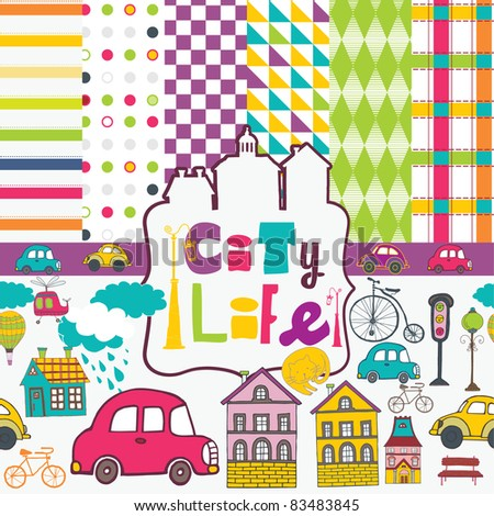 city life scrapbook - stock vector