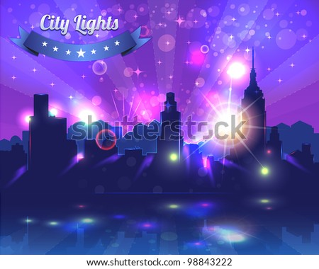 City Lights Landscape Night Vector Design - stock vector