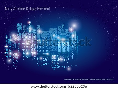 City Lights. New Year Vector illustration of city with lighting windows, and in winter time. Holidays concept